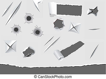 papel, dañado, conjunto, torned, elementos