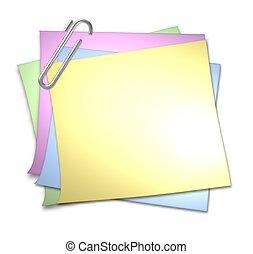 papel de nota, clip, blanco