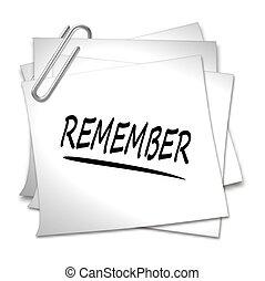 papel de nota, -, recordar, clip