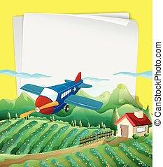 papel, desenho, com, avião, voar, a, campo