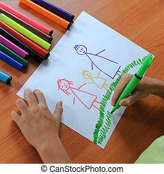 papel, desenho, família, criança