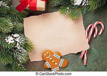 papel, deseos, navidad, pedazo