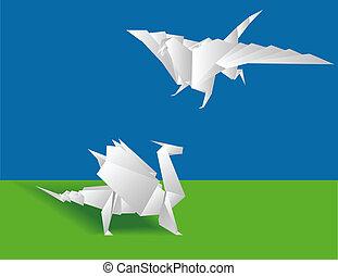 papel, dois, chinês, dragões