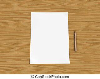 papel, e, lápis, ligado, tabela madeira