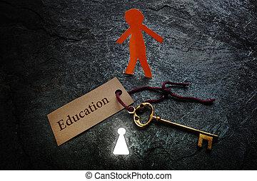 papel, educación, hombre