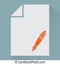 papel, em branco, caneta, folha