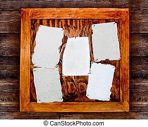 papel, em branco, tábua, madeira