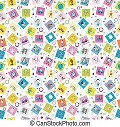 papel embrulho, com, brinquedos, para, crianças