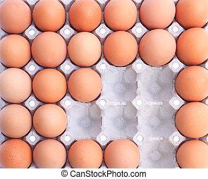 papel, empaquetado, huevos