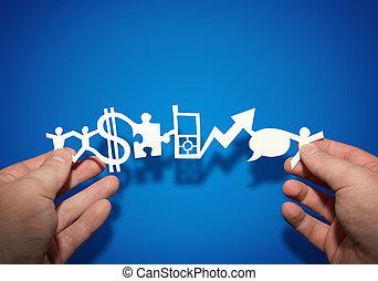papel, empresa / negocio, cadena