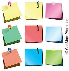 papel, empurrão, notas, alfinete