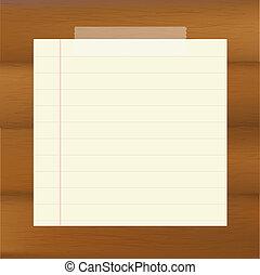 papel, en, de madera, fondo marrón