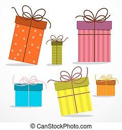papel encajona, vector, retro, regalo