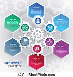 papel, engranajes, infographics