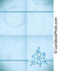 papel, envelhecido, snowflakes, cartão