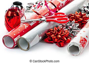 papel, envoltura, navidad, rollos