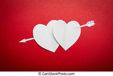papel, espacio de copia, valentines, corazones, perforado, ...