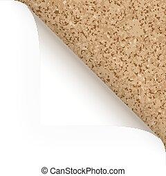 papel, -, esquina superior, -, corcho, estructura