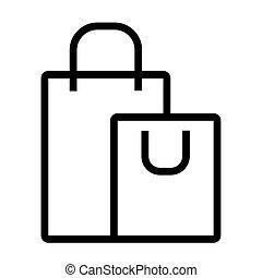 papel, estilo, bolsas de compras, plano