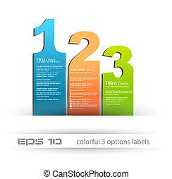 papel, estilo, etiquetas, com, 3, choices., ideal, para,...