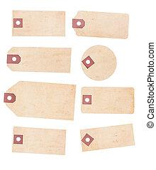 papel, etiquetas, envelhecido, jogo, amarelando, oito
