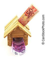 papel, euro, brinquedo, dinheiro, casa, madeira
