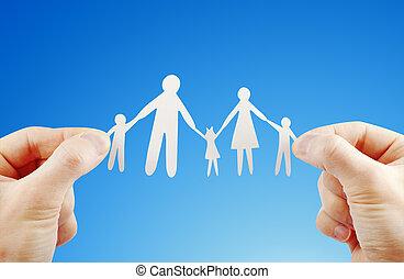 papel, família, em, mãos