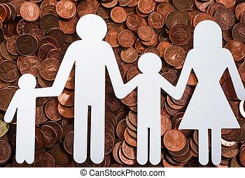 papel, familia , en, euro, coins
