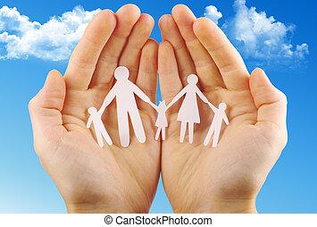 papel, familia , en, manos