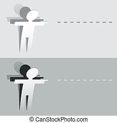 papel, figura, corte, apontar, human