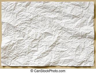 papel, folha, branca, amarrotado, textured