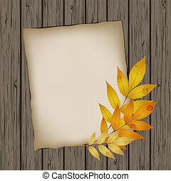 papel, folha, com, outono sai