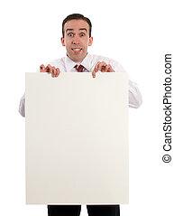 papel, folha, segurando, homem