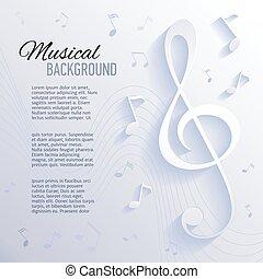 papel, fundo, com, música, notas.