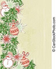 papel, fundo, decorações natal