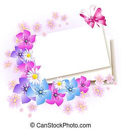 papel, fundo, flores