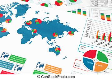 papel, gráficos, e, gráficos, em, relatório
