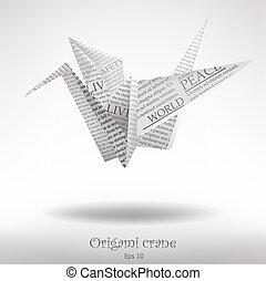 papel, grúa