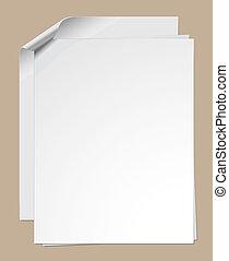 papel, grampeado, folhas