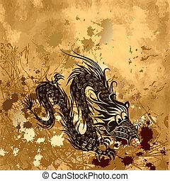 papel, grunge, dragão
