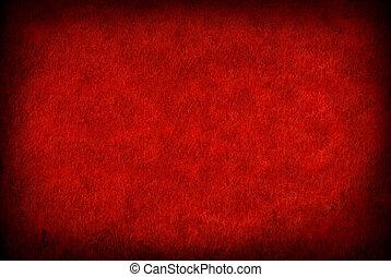 papel, grunge, vermelho