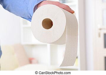 papel higiénico, llevar a cabo la mano