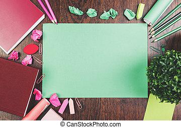 papel, hoja, tabletop, trabajando