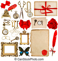 papel, hojas, con, vendimia, accesorios, aislado, en, white., scrapbo