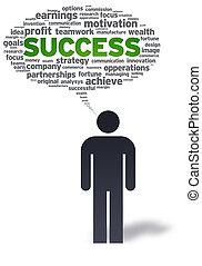 papel, hombre, con, éxito, burbuja