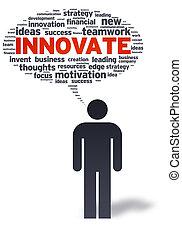 papel, hombre, con, innovar, burbuja