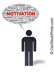 papel, hombre, con, motivación, burbuja