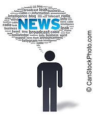 papel, hombre, con, noticias, burbuja