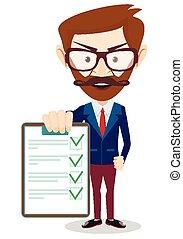 papel, hombre de negocios, vector, tenencia