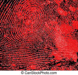 papel, huella digital, negro, fondo., rojo